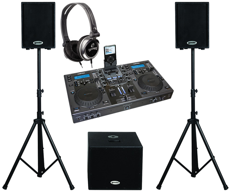 "DJ Package Cortex DMIX-600 Pro iPod Digital Media Controller, Monitor Headphones and Dual 10"" Powered PA Speakers & 15"" Subwoofer System"