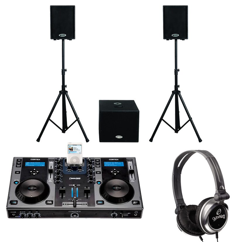 """DJ Package Cortex DMIX-300 Pro iPod Digital Media Controller, Monitor Headphones and Dual 10"""" Powered PA Speakers & 15"""" Subwoofer System"""