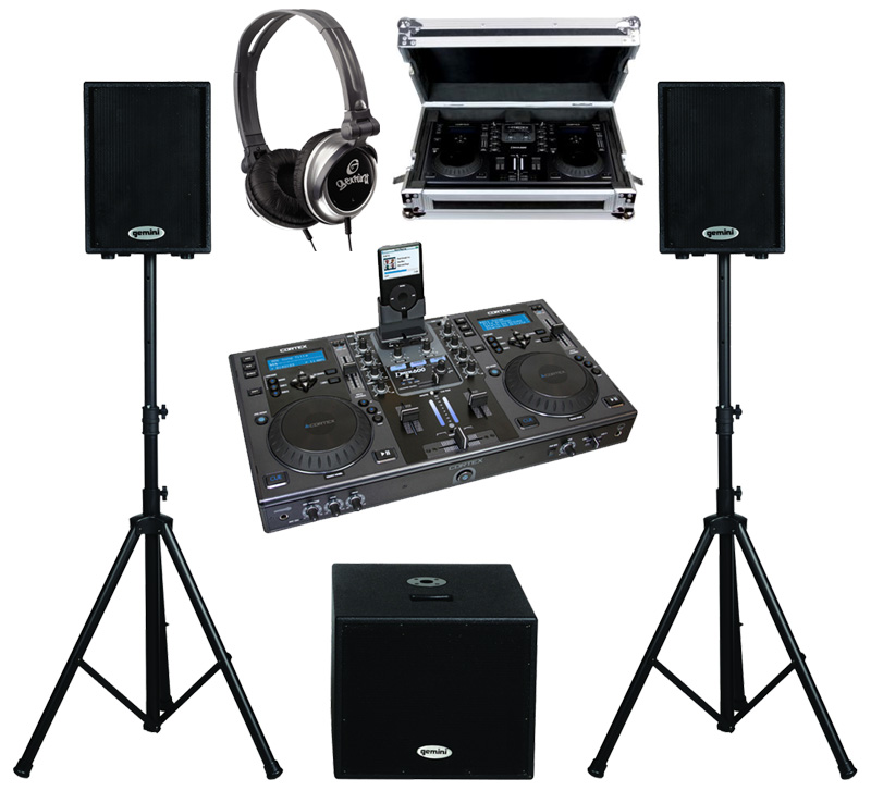 """DJ Package Cortex DMIX-600 Pro iPod Digital Media Controller with Sturdy Case, Monitor Headphones and Dual 10"""" Powered PA Speakers & 15"""" Subwoofer System"""