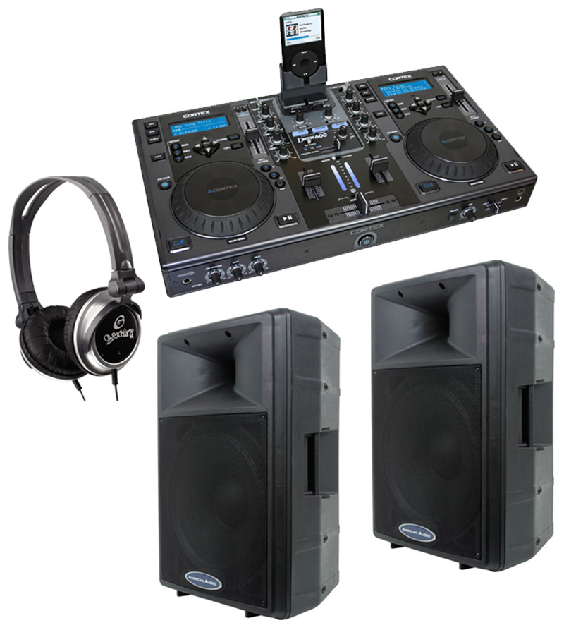 "DJ Package Cortex DMIX-600 Pro iPod Digital Media Controller, Monitor Headphones and American Audio DLS-15P 15"" PA 300W 2-Way Speaker Pair System"