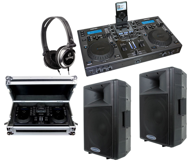 """DJ Package Cortex DMIX-600 Pro iPod Digital Media Controller with Sturdy Case, Monitor Headphones and American Audio DLS-15P 15"""" PA 300W 2-Way Speaker Pair System"""