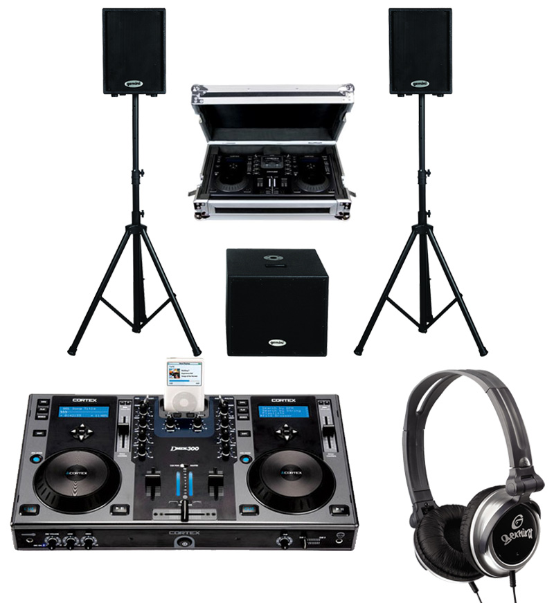 "DJ Package Cortex DMIX-300 Pro iPod Digital Media Controller with Sturdy Case, Monitor Headphones and Dual 10"" Powered PA Speakers & 15"" Subwoofer System"