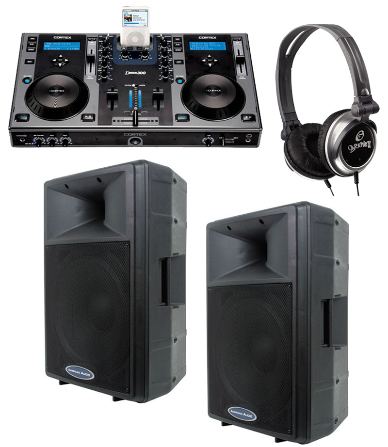 "DJ Package Cortex DMIX-300 Pro iPod Digital Media Controller, Monitor Headphones and American Audio DLS-15P 15"" PA 300W 2-Way Speaker Pair System"