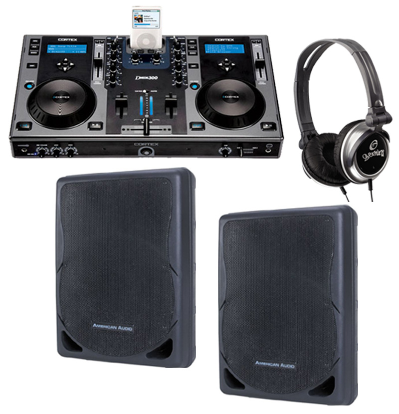 "DJ Package Cortex DMIX-300 Pro iPod Digital Media Controller, Monitor Headphones and American Audio XSP-12A 12"" PA 300W 2-Way Speaker Pair System"