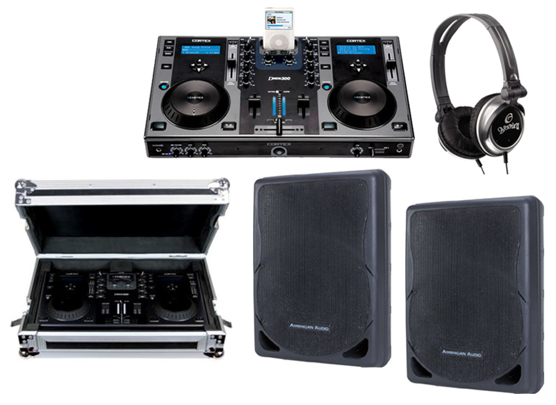 "DJ Package Cortex DMIX-300 Pro iPod Digital Media Controller with Sturdy Case, Monitor Headphones and American Audio XSP-12A 12"" PA 300W 2-Way Speaker Pair System"