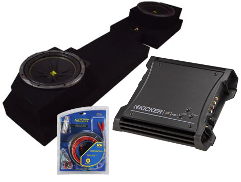 """Dual 10"""" Dodge 02 and Up Quad Cab Enclosure W/ Dual Kicker C10 Subs and ZX400.1 Amplifier"""
