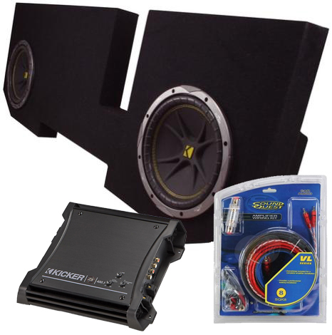 Dodge 02-UP Extended Cab Dual 12 Inch C12 Kicker Subwoofer Enclosure W/ ZX400.1 Amplifier