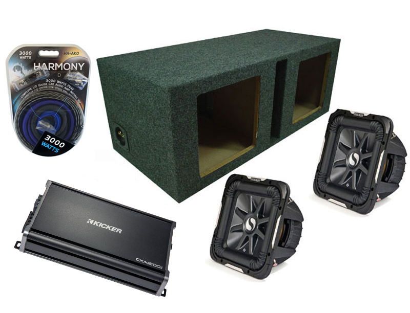 "Kicker Car Stereo 10"" Pair S10L7 Dual 2 Ohm Loaded Vented Subwoofer Box, CX1200.1 Amp & Amplifier Install Kit"