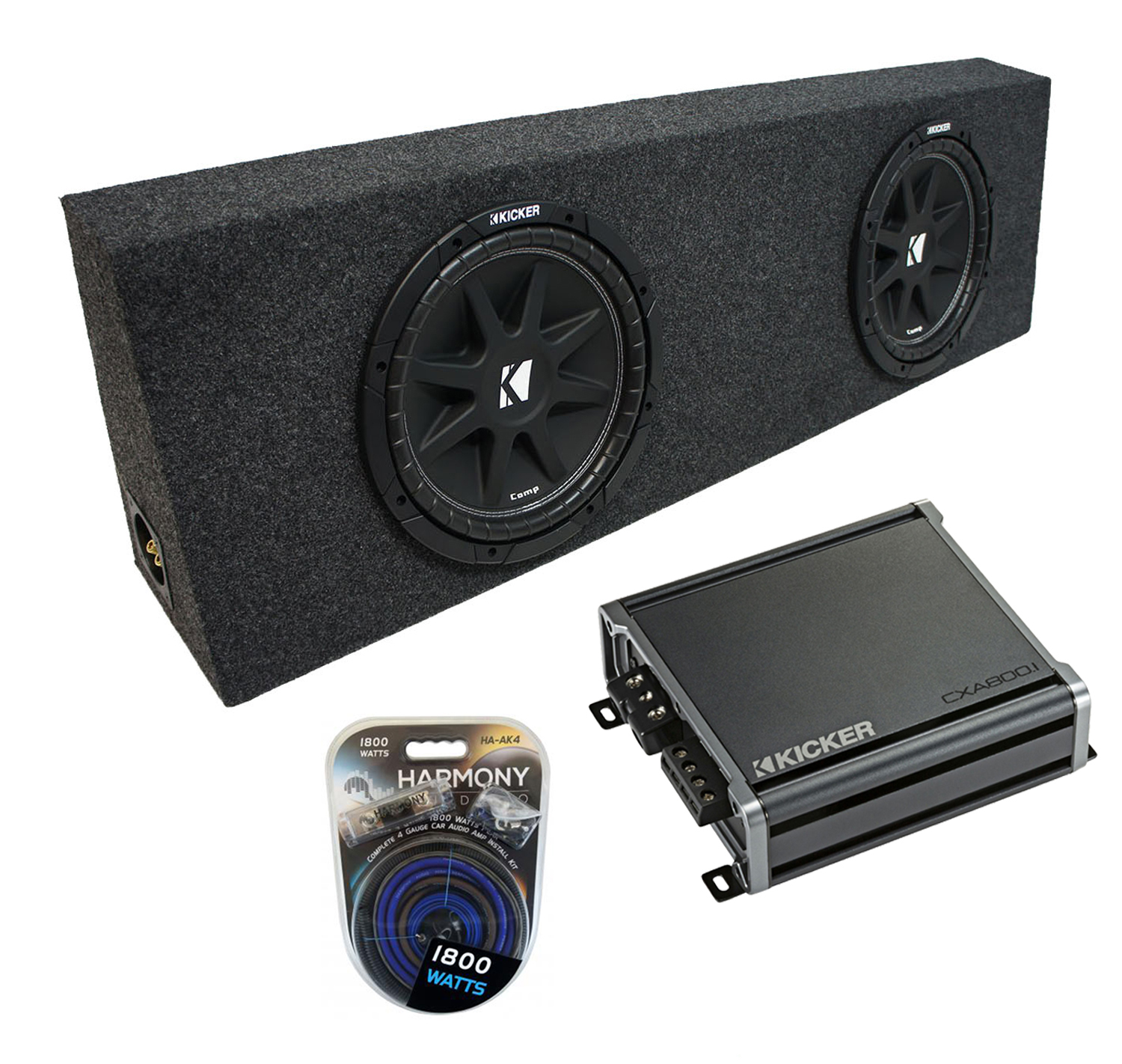 "Universal Regular Standard Cab Truck Kicker Comp C12 Dual 12"" Sub Box Enclosure & CX600.1 Amp"