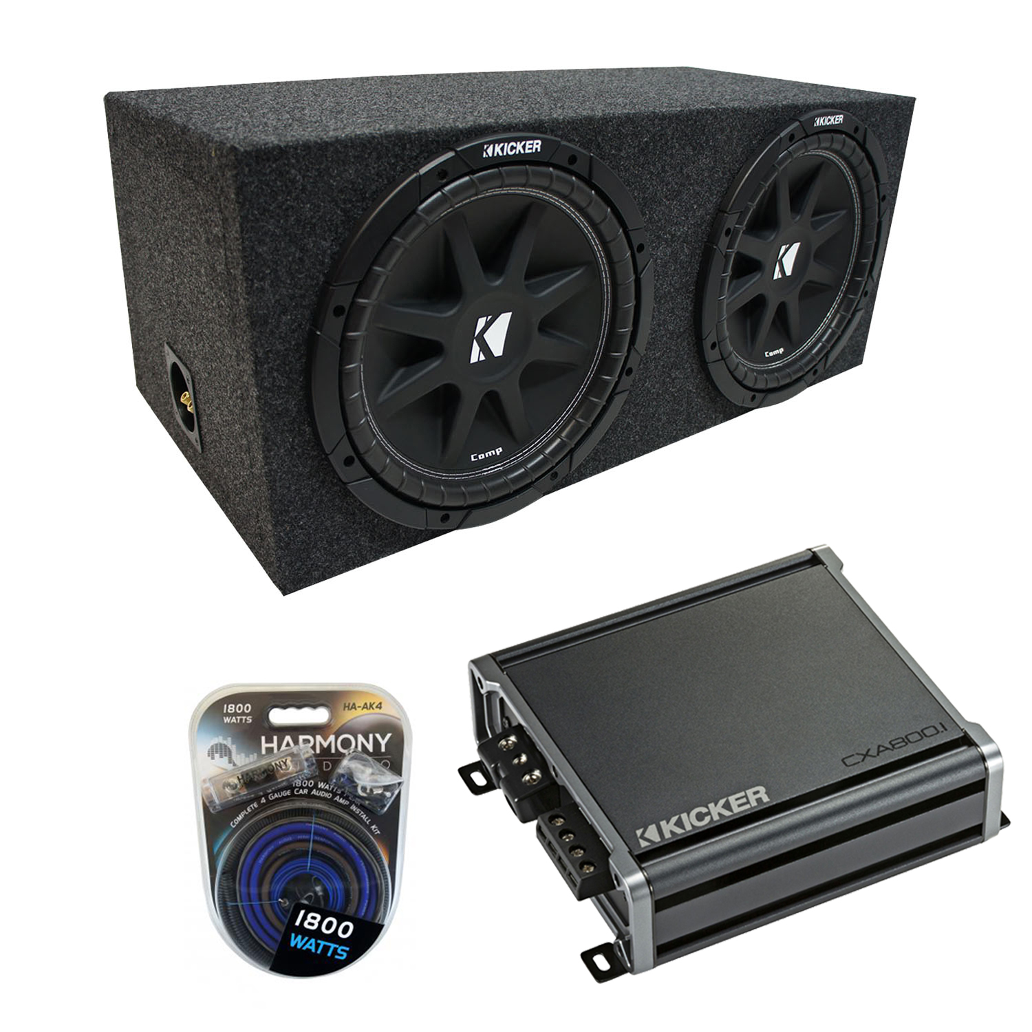 "Universal Car Stereo Rearfire Sealed Dual 12"" Kicker Comp C12 Sub Box Enclosure & CX600.1 Amp"