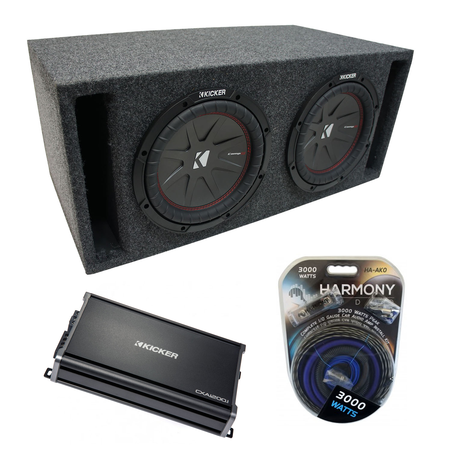 "Universal Car Stereo Slotted S Port Dual 12"" Kicker CompR CWR12 Sub Box Enclosure & CX1200.1 Amp"