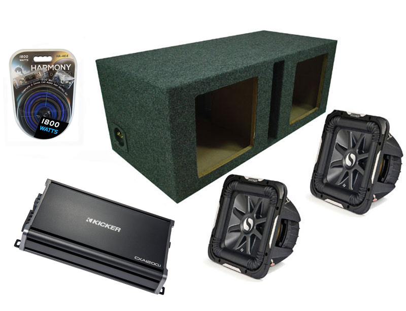 "Kicker Car Stereo 12"" Pair S12L7 Dual 2 Ohm Loaded Vented Subwoofer Box, CX1200.1 Amp & Amplifier Install Kit"