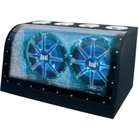Dual XNBP12D Car Audio Loaded Sub Box With Dual 12 Inch Subwoofers