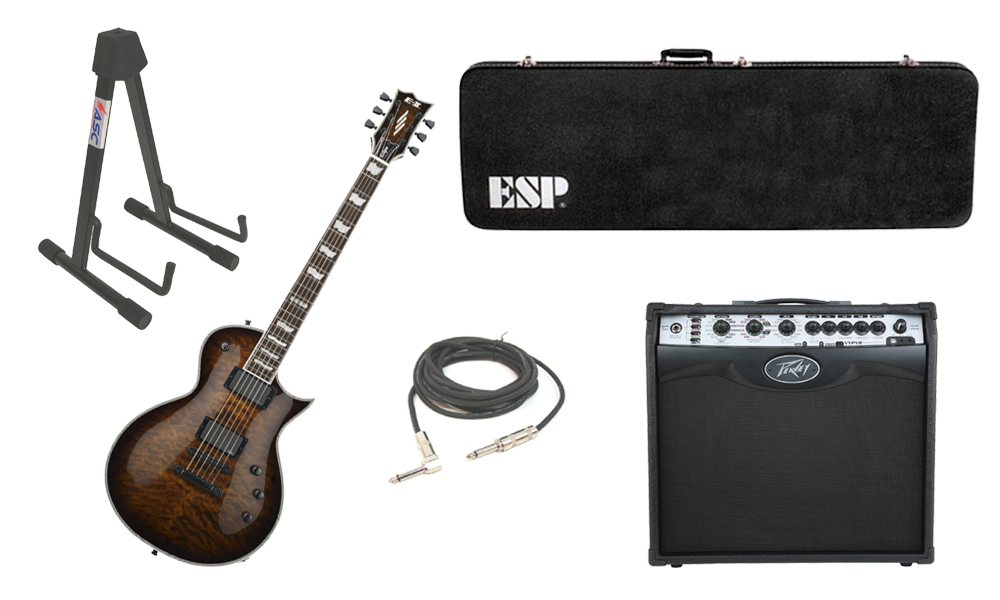 """ESP E-II Eclipse Quilted Maple Top 6 String Dark Brown Sunburst Electric Guitar with Peavey VIP 2 Modeling Amp, 1/4"""" Cable & Stand"""