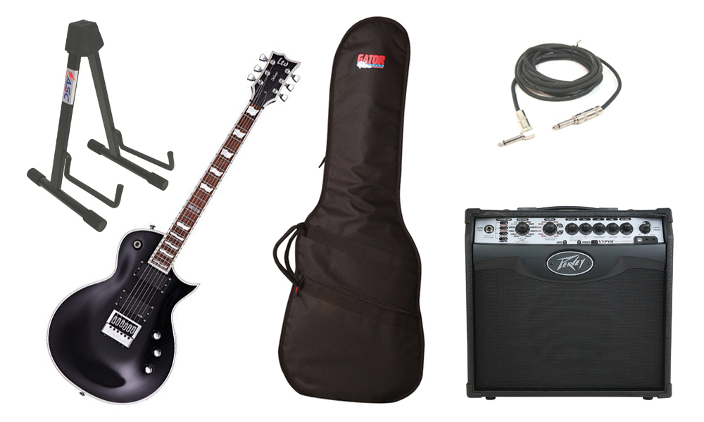 "ESP LTD EC Series EC-1000 Mahogany Body 6 String Evertune Black Electric Guitar with Peavey VIP 1 Modeling Amp, 1/4"" Cable & Stand"