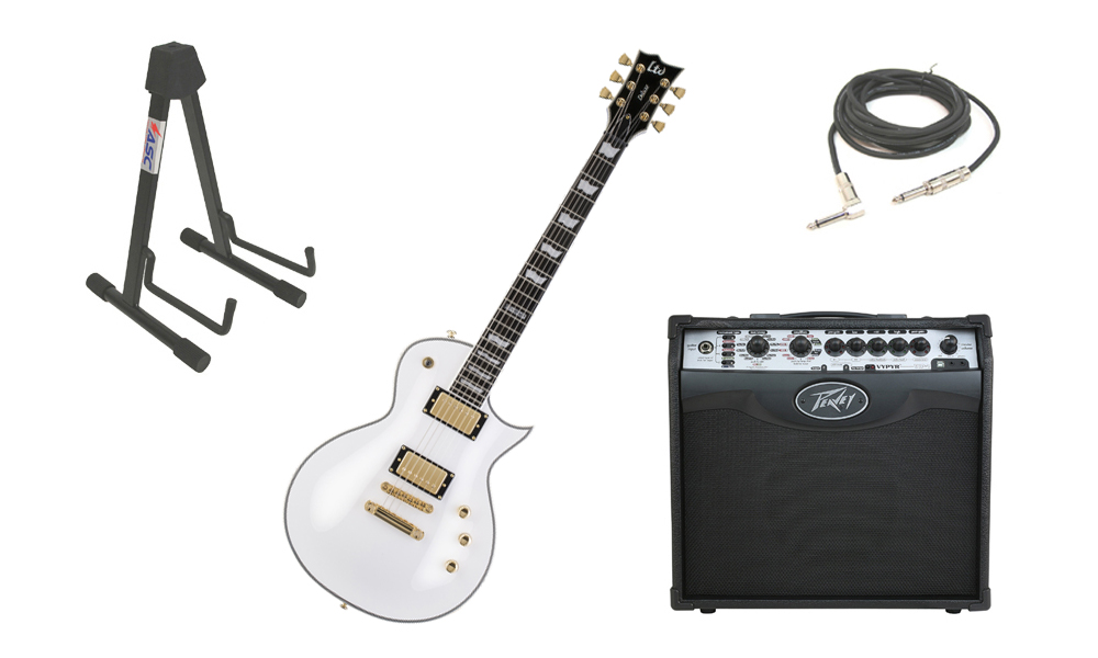 """ESP LTD EC Series EC-1000T Mahogany Body 6 String DiMarzio Hardware Snow White Electric Guitar with Peavey VIP 1 Modeling Amp, 1/4"""" Cable & Stand"""
