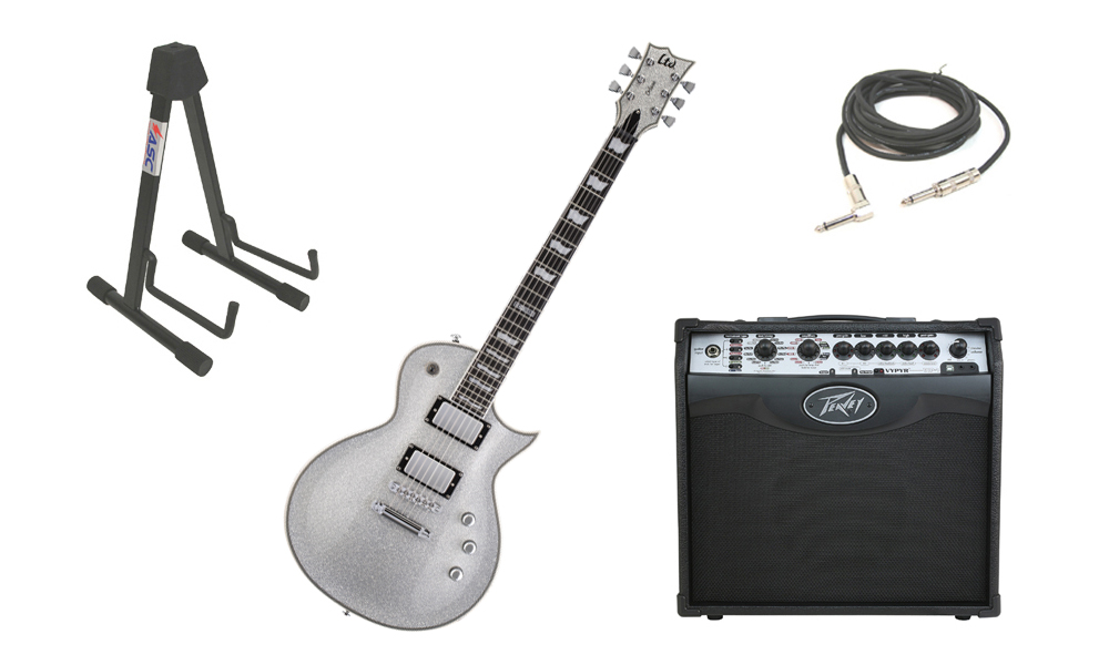 "ESP LTD EC Series EC-1000 Mahogany Body 6 String Silver Sparkle Electric Guitar with Peavey VIP 1 Modeling Amp, 1/4"" Cable & Stand"
