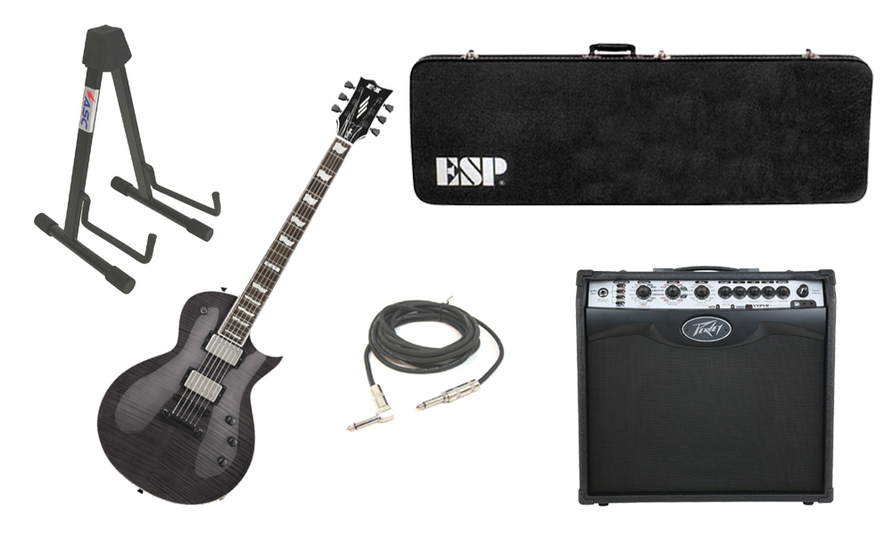 """ESP E-II Eclipse Flamed Maple Top 6 String See Through Black Electric Guitar with Peavey VIP 2 Modeling Amp, 1/4"""" Cable & Stand"""