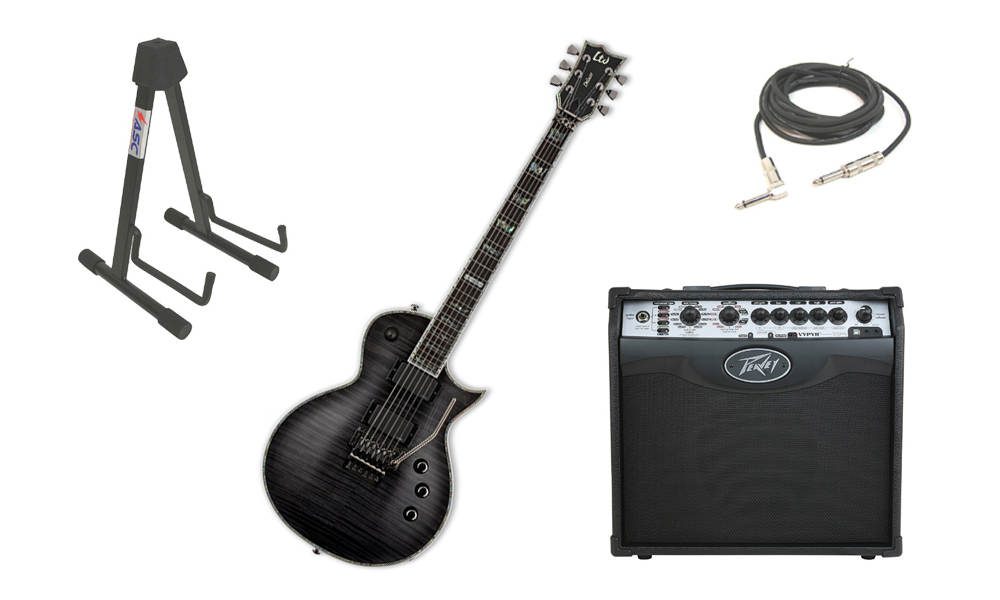 "ESP LTD EC Series EC-1000 Mahogany Body 6 String Floyd Rose Bridge See Through Black Electric Guitar with Peavey VIP 1 Modeling Amp, 1/4"" Cable & Stand"