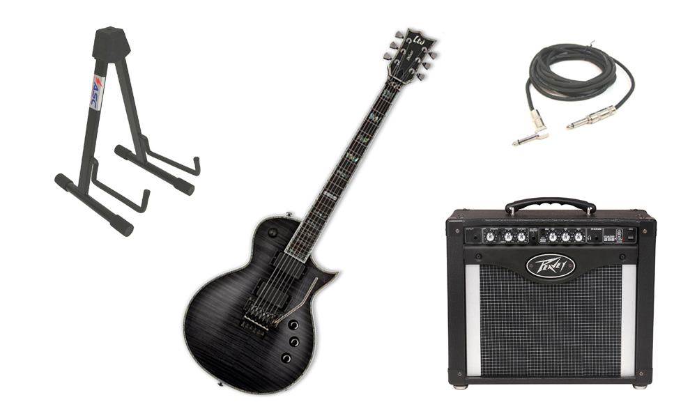 "ESP LTD EC Series EC-1000 Mahogany Body 6 String Floyd Rose Bridge See Through Black Electric Guitar with Peavey Rage 258 TransTube Amp, 1/4"" Cable & Stand"