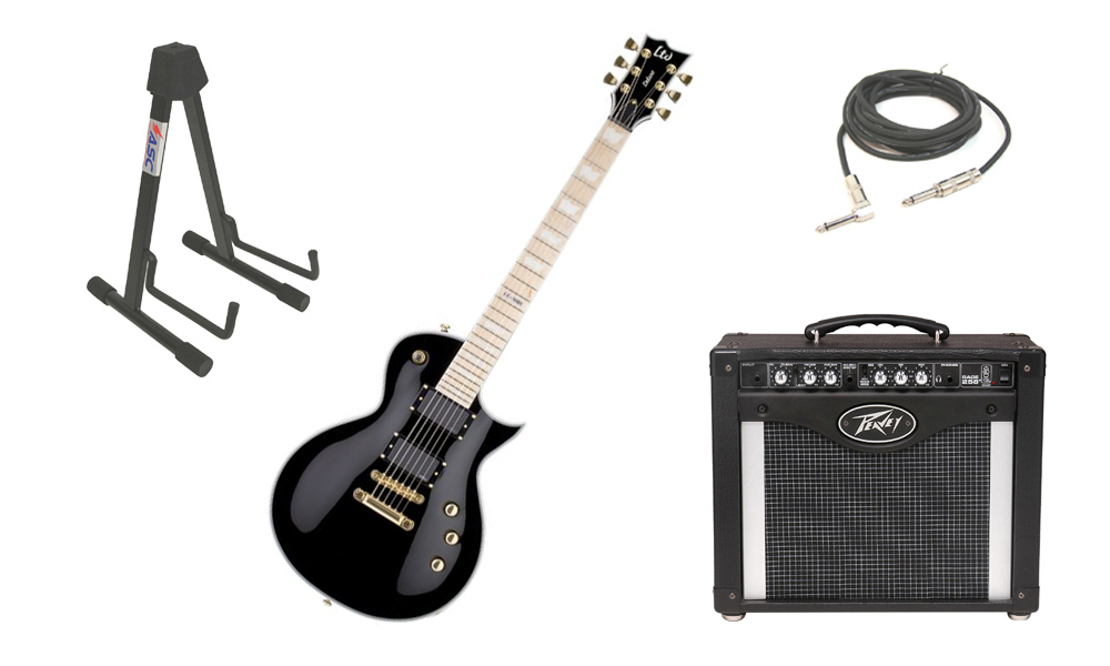 """ESP LTD EC Series EC-1000T Mahogany Body 6 String Maple Fingerboard Black Electric Guitar with Peavey Rage 258 TransTube Amp, 1/4"""" Cable & Stand"""