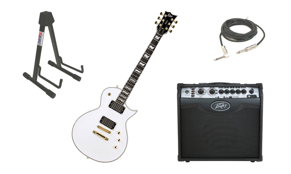 """ESP LTD EC Series EC-1000T Mahogany Body 6 String Ebony Fingerboard Snow White Electric Guitar with Peavey VIP 1 Modeling Amp, 1/4"""" Cable & Stand"""