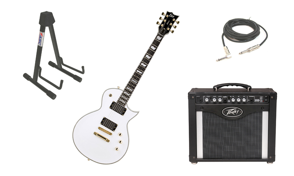 """ESP LTD EC Series EC-1000T Mahogany Body 6 String Ebony Fingerboard Snow White Electric Guitar with Peavey Rage 258 TransTube Amp, 1/4"""" Cable & Stand"""