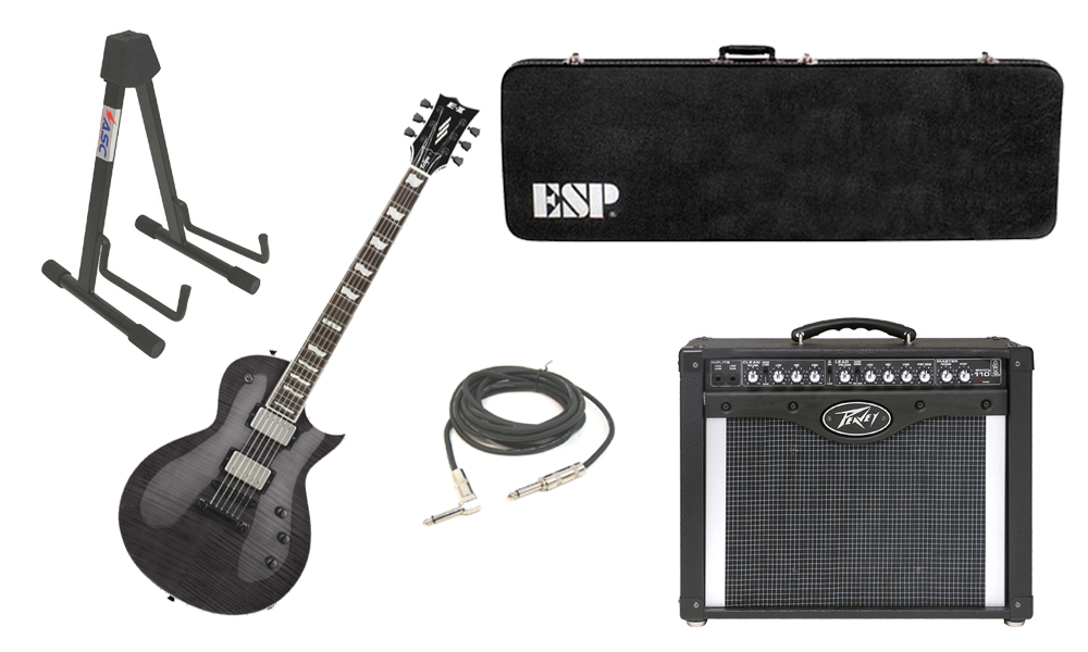 """ESP E-II Eclipse Flamed Maple Top 6 String See Through Black Electric Guitar with Peavey Envoy 110 Tube Amp, 1/4"""" Cable & Stand"""