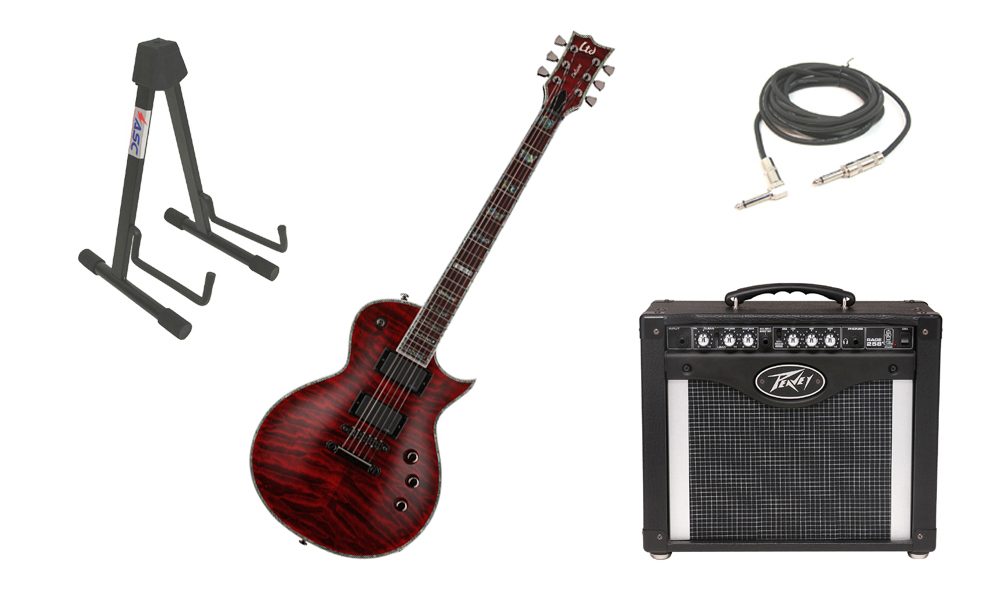 """ESP LTD EC Series EC-1000QM Quilted Maple Top 6 String Rosewood Fingerboard See Through Black Cherry Electric Guitar with Peavey Rage 258 TransTube Amp, 1/4"""" Cable & Stand"""