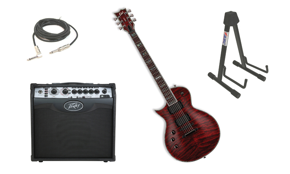 "ESP LTD EC Series EC-1000QM Quilted Maple Top 6 String Rosewood Fingerboard See Through Black Cherry Electric Guitar (Left Hand) with Peavey VIP 1 Modeling Amp, 1/4"" Cable & Stand"
