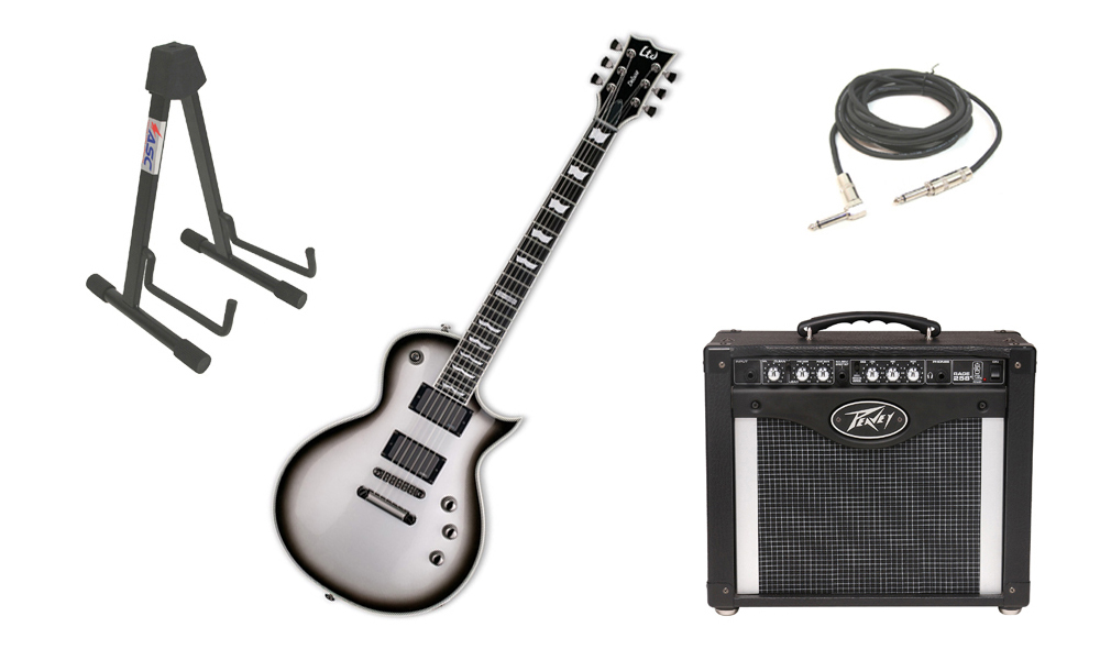 "ESP LTD EC Series EC-1000 Mahogany Body 6 String Ebony Fingerboard Silver Sunburst Electric Guitar with Peavey Rage 258 TransTube Amp, 1/4"" Cable & Stand"