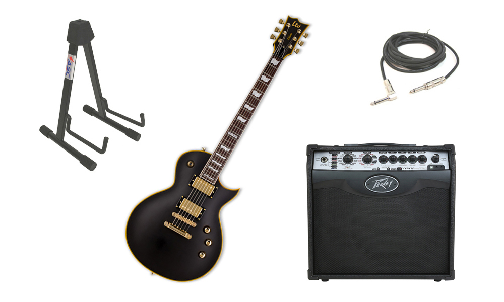 """ESP LTD EC Series EC-1000 Mahogany Body 6 String Rosewood Fingerboard Seymour Duncan Vintage Black Electric Guitar with Peavey VIP 1 Modeling Amp, 1/4"""" Cable & Stand"""