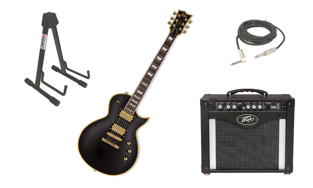 """ESP LTD EC Series EC-1000 Mahogany Body 6 String Rosewood Fingerboard Seymour Duncan Vintage Black Electric Guitar with Peavey Rage 258 TransTube Amp, 1/4"""" Cable & Stand"""