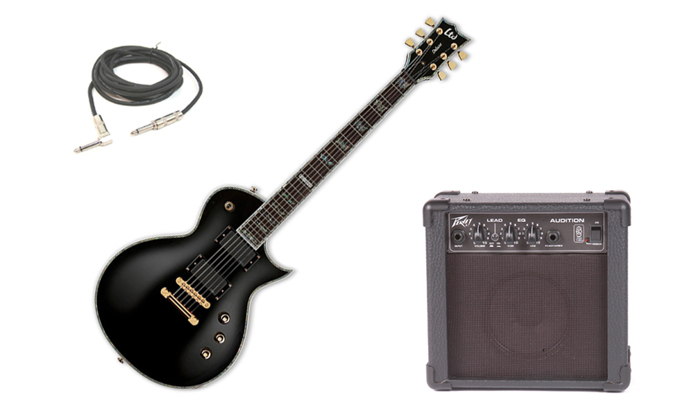 """ESP LTD EC Series EC-1000 Mahogany Body 6 String Rosewood Fingerboard Black Electric Guitar with Peavey Audition Practice Amp & 1/4"""" Cable"""