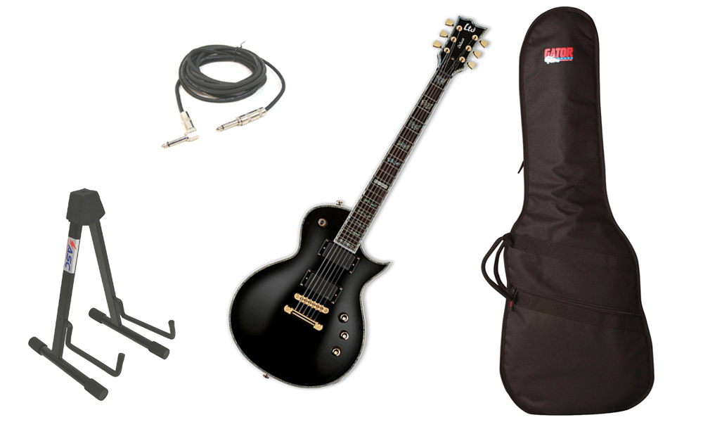 """ESP LTD EC Series EC-1000 Mahogany Body 6 String Rosewood Fingerboard Black Electric Guitar with Travel Gig Bag, Stand & 1/4"""" Cable"""