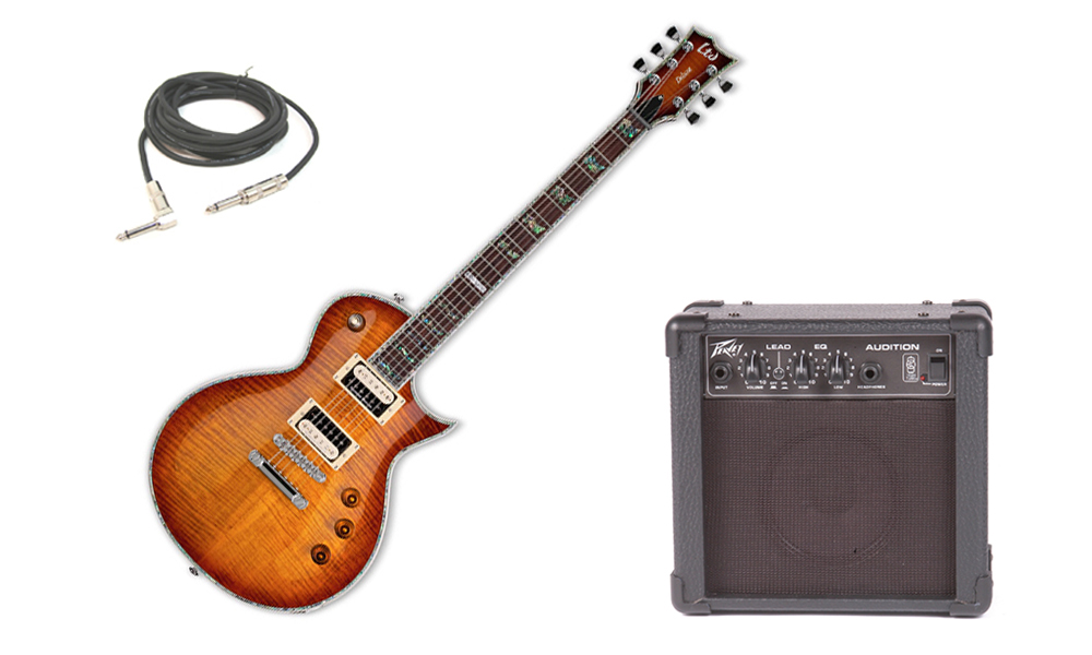 "ESP LTD EC Series EC-1000 Flamed Maple Top 6 String Rosewood Fingerboard Amber Sunburst Electric Guitar with Peavey Audition Practice Amp & 1/4"" Cable"