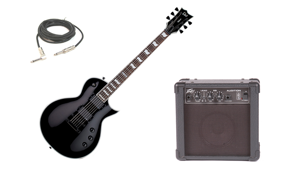 "ESP LTD EC Series EC-1000S Mahogany Body 6 String Rosewood Fingerboard EMG Pickups Black Electric Guitar with Peavey Audition Practice Amp & 1/4"" Cable"