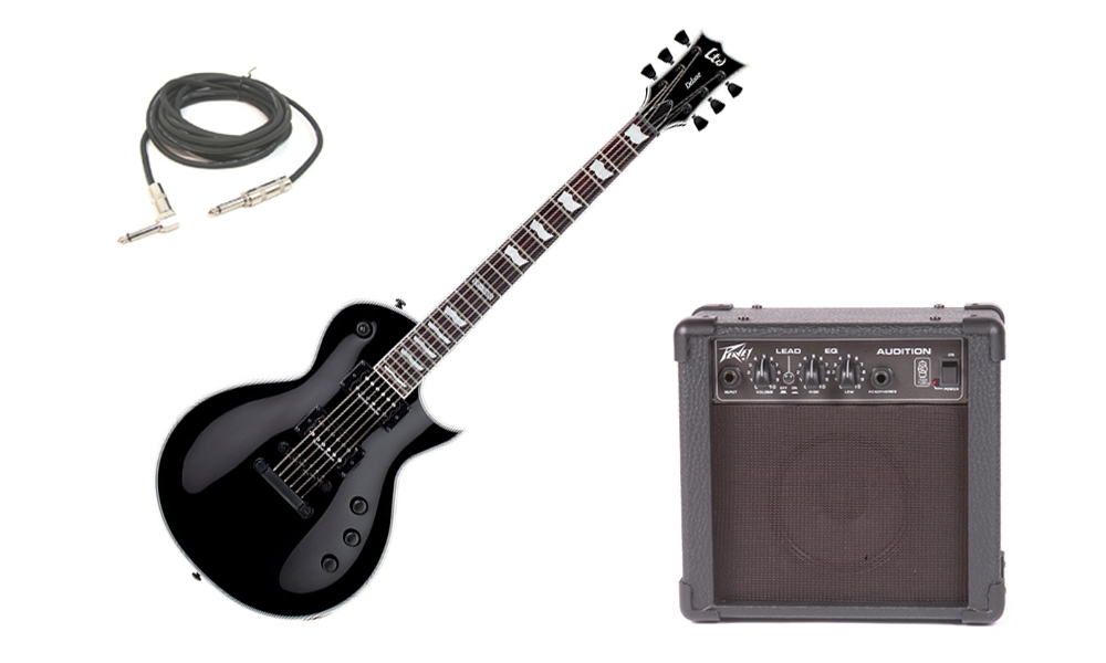 """ESP LTD EC Series EC-1000S Mahogany Body 6 String Rosewood Fingerboard Seymour Duncan Pickups Black Electric Guitar with Peavey Audition Practice Amp & 1/4"""" Cable"""