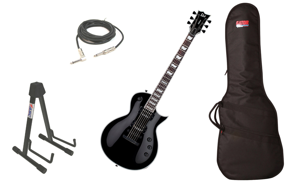 """ESP LTD EC Series EC-1000S Mahogany Body 6 String Rosewood Fingerboard Seymour Duncan Pickups Black Electric Guitar with Travel Gig Bag, Stand & 1/4"""" Cable"""