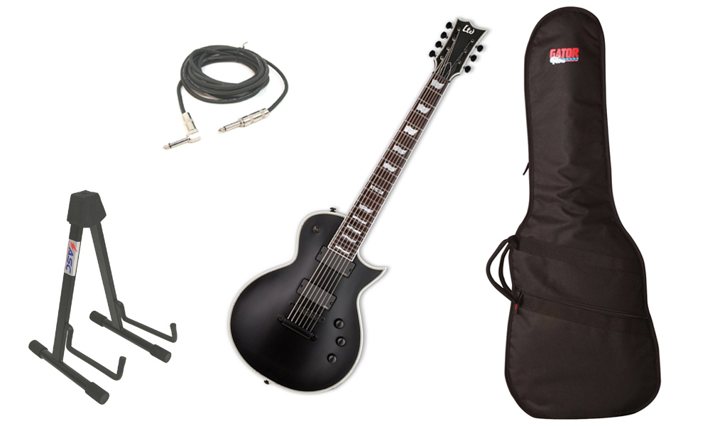 """ESP LTD EC Series EC-407 Mahogany Body 7 String Rosewood Fingerboard Black Satin Electric Guitar with Travel Gig Bag, Stand & 1/4"""" Cable"""