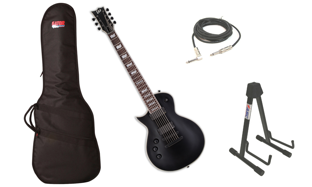 """ESP LTD EC Series EC-407 Mahogany Body 7 String Rosewood Fingerboard Black Satin Electric Guitar (Left Hand) with Travel Gig Bag, Stand & 1/4"""" Cable"""