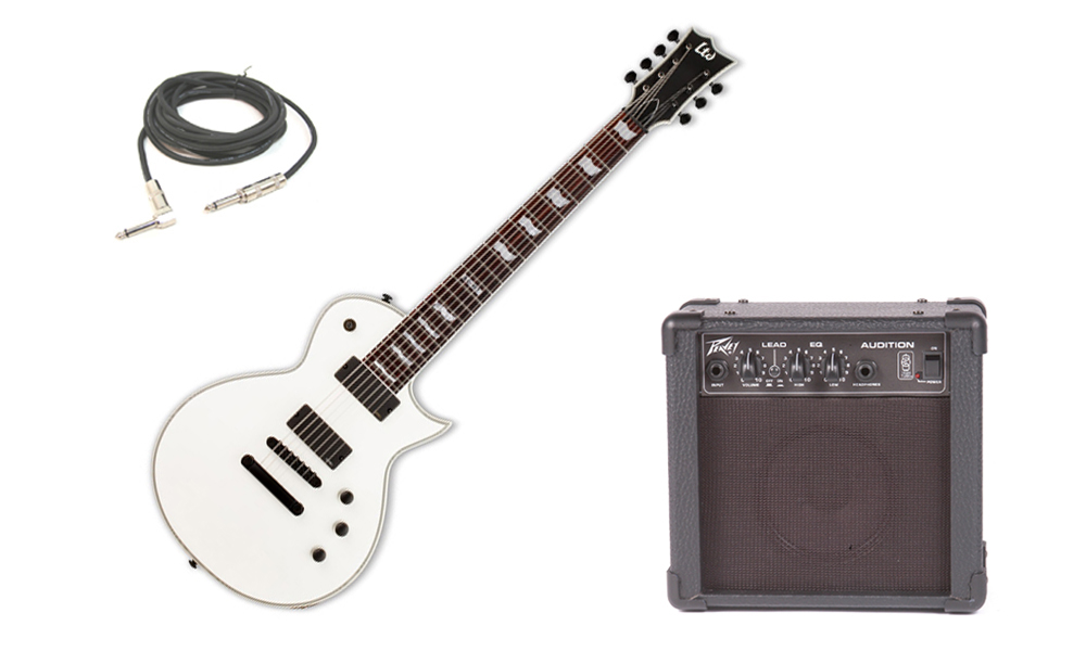 """ESP LTD EC Series EC-407 Mahogany Body 7 String Rosewood Fingerboard Snow White Satin Electric Guitar with Peavey Audition Practice Amp & 1/4"""" Cable"""