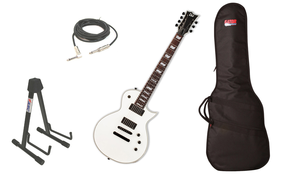 "ESP LTD EC Series EC-407 Mahogany Body 7 String Rosewood Fingerboard Snow White Satin Electric Guitar with Travel Gig Bag, Stand & 1/4"" Cable"