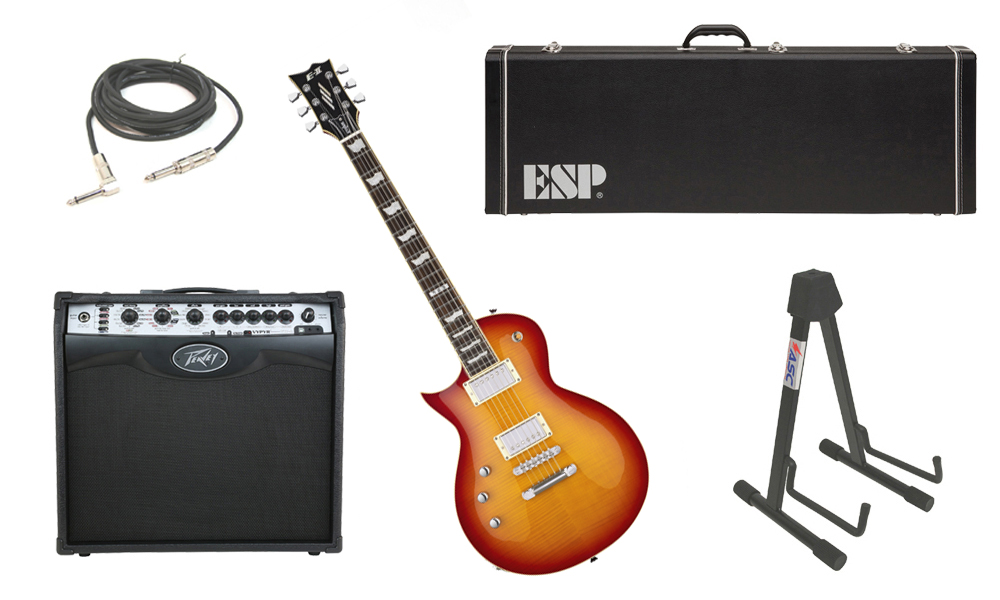 """ESP E-II Eclipse Flamed Maple Top 6 String Cherry Sunburst (Left Hand) Electric Guitar with Peavey VIP 2 Modeling Amp, 1/4"""" Cable & Stand"""