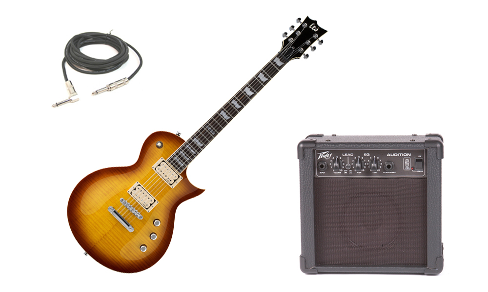"""ESP LTD EC Series EC-401VF Flamed Maple Top 6 String Rosewood Fingerboard DiMarzio Pickups Faded Cherry Sunburst Electric Guitar with Peavey Audition Practice Amp & 1/4"""" Cable"""
