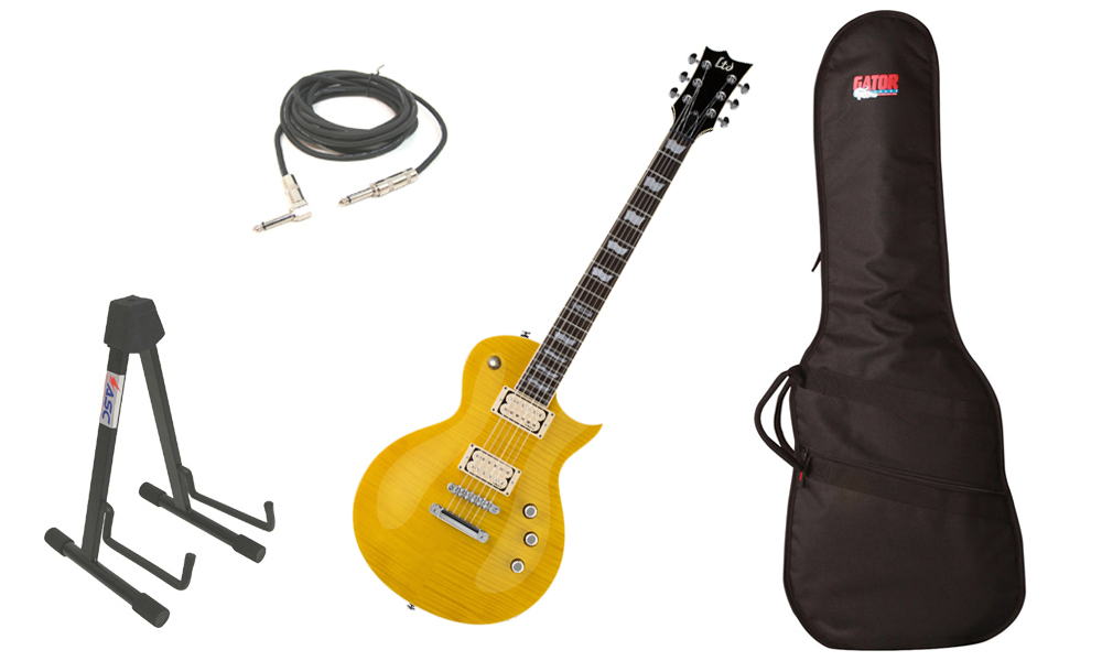 """ESP LTD EC Series EC-401VF Flamed Maple Top 6 String Rosewood Fingerboard DiMarzio Pickups Lemon Drop Electric Guitar with Travel Gig Bag, Stand & 1/4"""" Cable"""