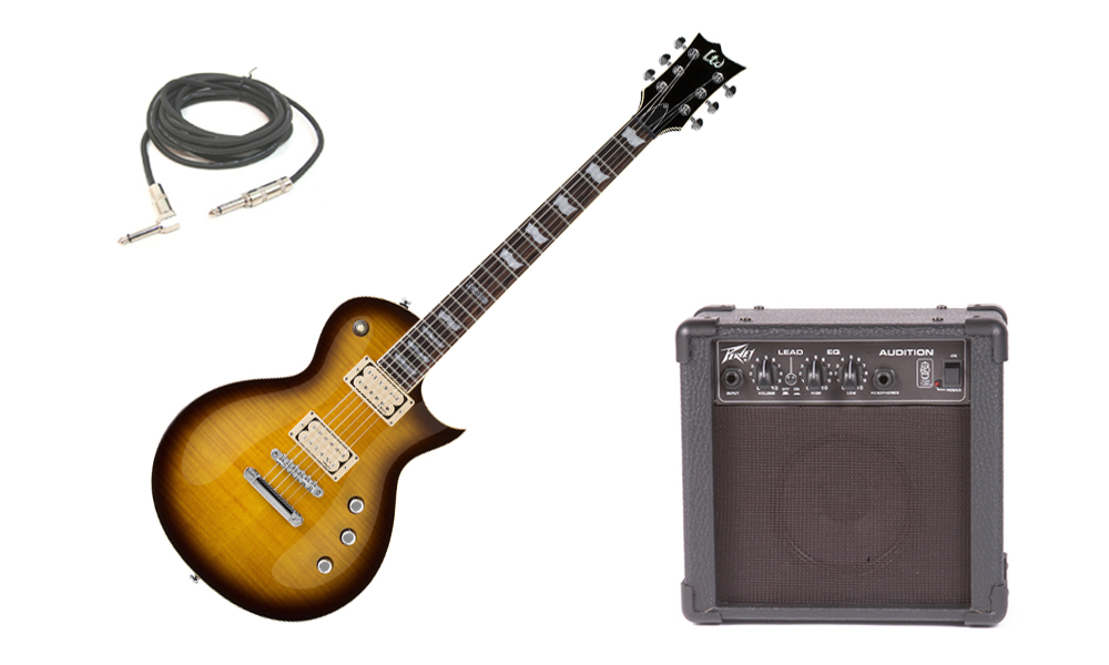 "ESP LTD EC Series EC-401VF Flamed Maple Top 6 String Rosewood Fingerboard DiMarzio Pickups Tobacco Sunburst Electric Guitar with Peavey Audition Practice Amp & 1/4"" Cable"