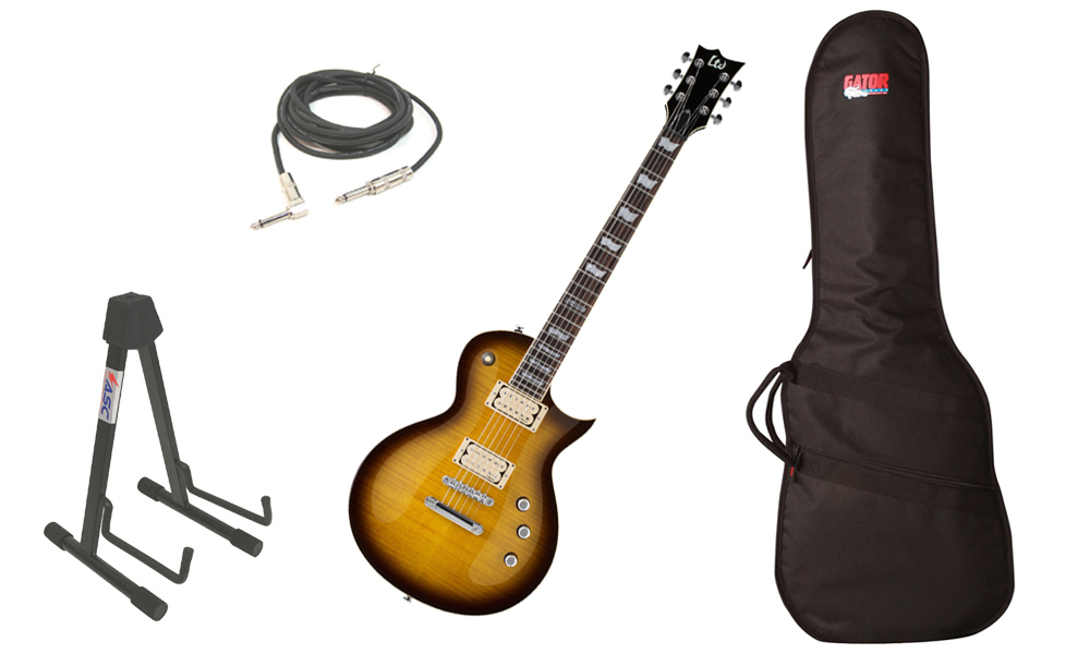 "ESP LTD EC Series EC-401VF Flamed Maple Top 6 String Rosewood Fingerboard DiMarzio Pickups Tobacco Sunburst Electric Guitar with Travel Gig Bag, Stand & 1/4"" Cable"
