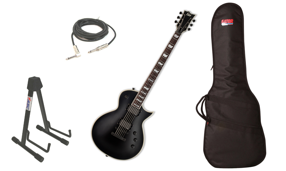 "ESP LTD EC Series EC-401B Mahogany Body 6 String Rosewood Fingerboard EMG Pickups Black Satin Electric Guitar with Travel Gig Bag, Stand & 1/4"" Cable"