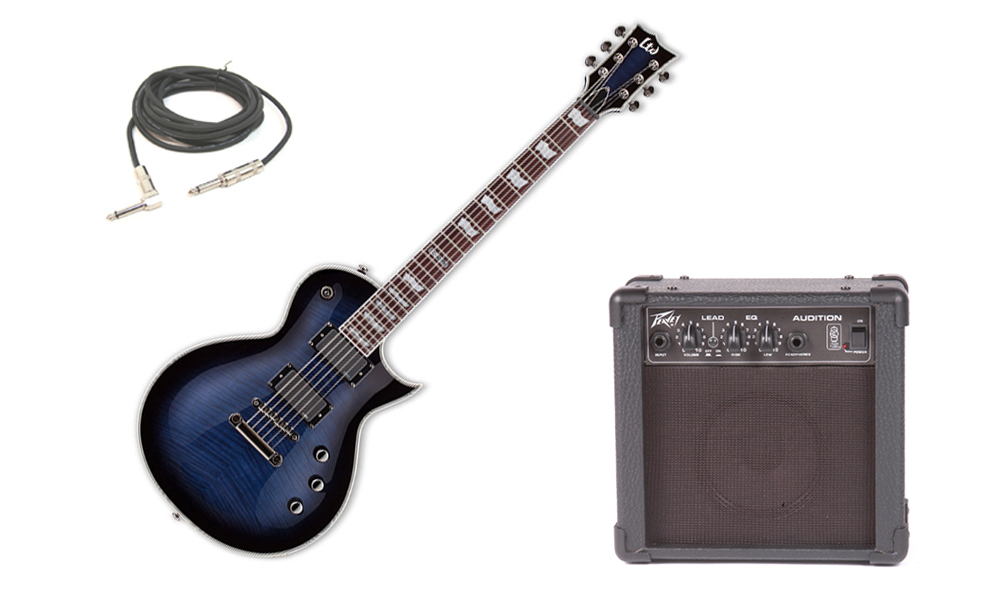 "ESP LTD EC Series EC-401FM Flamed Maple Top 6 String Rosewood Fingerboard EMG Pickups Reindeer Blue Electric Guitar with Peavey Audition Practice Amp & 1/4"" Cable"